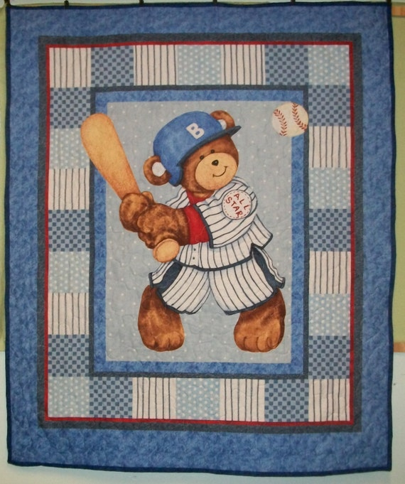 Cute Baseball Playing Teddy Bear Finished Baby Quilt 36