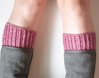 Chunky Crochet Boot Cuffs in Rosy Pink, vegan, ready to ship.