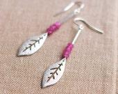 Silver leaf earrings with purple jade beads - 925 silver hook - autumn - bridal jewelry - dangle earrings - drop earrings