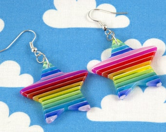 Rainbow Stripe Star Earrings