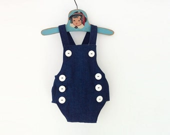 Retro Baby Romper, Baby Boy Nautical Romper, Baby Boy Romper, Sailor Romper, Denim Romper, Cake Smashing Outfit, Cake Smash Outfit Boy