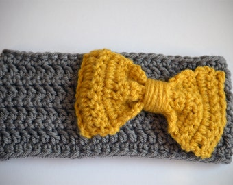 Head Wrap - Gray and Gold Yellow bow