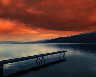 Okanagan Lake Peachland BC Large Size Wall Art Photography Nature Landscape Photography British Columbia Orange Print - Ogopogo's Lair