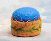 Blue Miniature Pincushion - Hand Embroidered Pin Cushion Gold Yellow Blue
