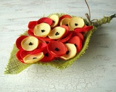 Fabric flowers, sew on flower appliques, fabric appliques, wedding craft supplies (30 pcs)- MINI POPPY MEADOW (Red, Yellow, Orange)