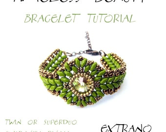 Bracelet tutorial, bracelet pattern, Superduo bracelet, superduo tutorial, DIY jewelry, wide cuff pattern, beading tutorial, TIMELESS BEAUTY
