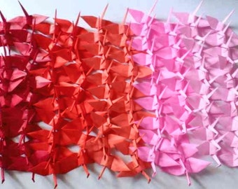 100 Small Origami Cranes Origami Paper Cranes Origami Crane - Made of 7.5cm 3 inches Japanese Paper - Red Pink