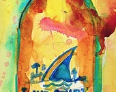 LandShark Premium Lager Quality  Beer Print from Original Watercolor  (Print Size - 8.5 x. 11) and (Print Size - 10 x 20)