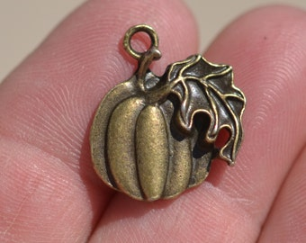5 Antique Bronze Pumpkin Charms BC3088