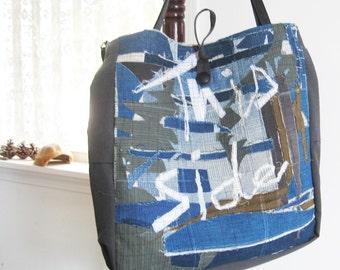 Large denim tote, Blue and gray, Novelty bag, upcycled patchwork bag, Grunge, market bag
