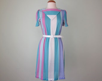 80s dress / pastel striped belted knit (s - m)