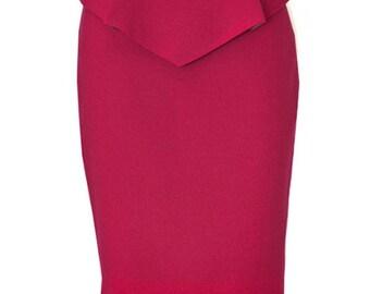 Peplum Pencil Skirt, Custom Fit, Handmade, Fully Lined