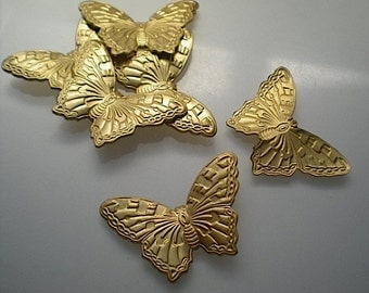 6 large brass butterfly charms No. 4