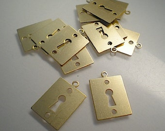 12 brass key hole/lock charms