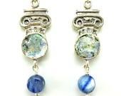 Pillar shaped silver earrings with roman glass & kyanite