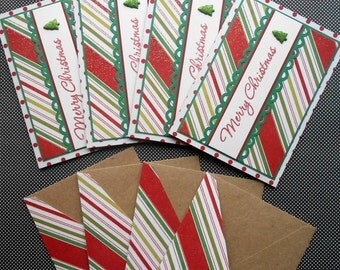 Christmas Card Set: 4 Handmade Christmas Cards with Matching Embellished Envelopes - Merry Tree