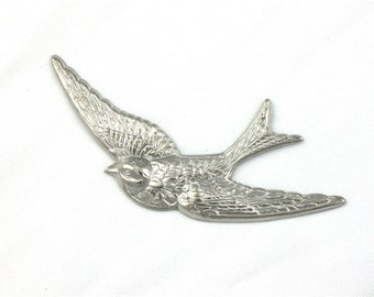 X Large silver SPARROW bird jewelry embellishment. 81mm x 40mm (ST49a)