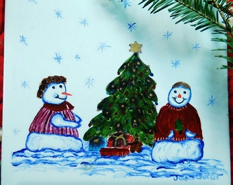 Tile Christmas Tree with Snowman Ceramic  Hand Painted
