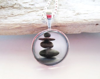 Zen stone pendant. Stacked rocks. Glass tile jewelry. Black and white. Beach stone necklace. Glass tile necklace. 25mm pendant.