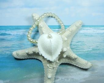 Seashell Pearl Wrist Corsage - Seaheart Bracelet