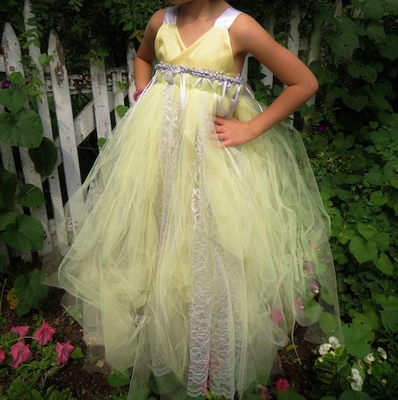 Yellow and Gray Tulle Flower Girl Dress by sahmom2threegirls - photo #18