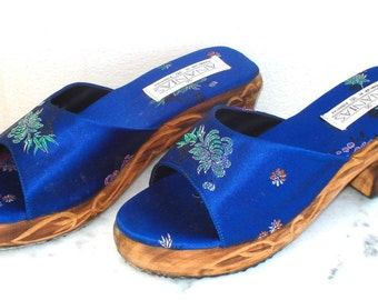 carved wood clog sandals
