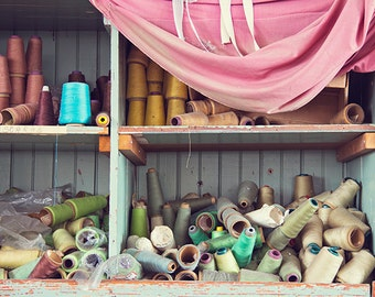 Decay Photography, Colorful Spools of Thread Photograph, Sewing Photography, Abandoned Building, Urban Decay, Bright Colorful, Rainbow