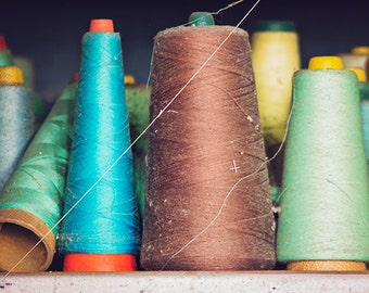 Blue and Brown Home Decor, Spools of Thread Photography, Fine Art Photograph, Sewing Factory Abandoned Urban Decay Still Life Art