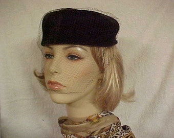 Dark brown velvet pill box hat with copper satin bow on top and face veil- fits 22 to 22 1/2 inches