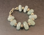Aquamarine Nugget Bracelet with Genuine Bali Sterling Silver Spacers and Sterling Toggle Clasp