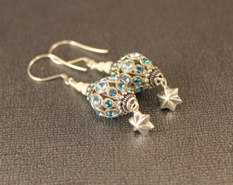 St Chappelle Swarovski Crystal Ball Earrings in Silver with Aquamarine Crystals and Bali Sterling Silver Beads, Caps and Wires - Filigree