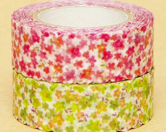 NamiNami Washi Masking Tape - Small Flowers in Pink & Green