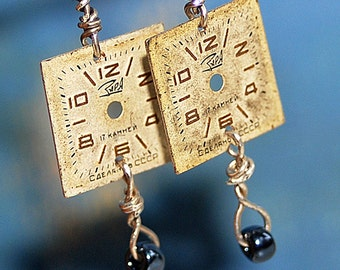 Steampunk, unique earrings, watch faces, jewelry, accessories, coolvintage, collectibles, gorgeous, looks great,UA