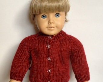Red Cardigan Sweater for Doll