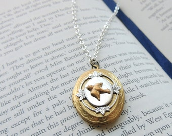 Sparrow locket // brass sparrow necklace