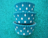 COLOR STAY Teal Dotted  Cupcake Liners Standard Size 50 per pack