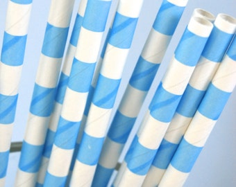 Pastel Blue Rugby Striped Paper Straws and PDF Printable Party Flags