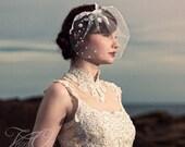 Birdcage veil, bridal tulle veil, lace veil, lace mini veil, mini birdcage veil, lace mini veil, lace bridal veil, pearl lace birdcage veil,