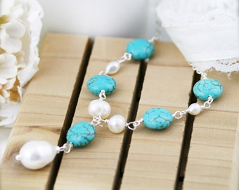 Sounds of the ocean necklace - freshwater pearl and turqurenite