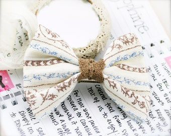 Cotton bow barrette hair clip - Cotton fabric