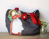 Vintage Holly Hobbie Charcoal Tote Market Bag