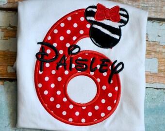 Red Minnie Mouse Birthday Shirt, Girls Minnie Mouse Birthday Shirt, Girls Birthday Shirt, Red Polka Dot Minnie Mouse Shirt