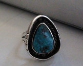Natural Turquoise  and sterling silver Ring  Size 6 Vintage Art Indian Southwest Signed PP Patricia Platero