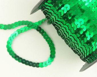 One (1) Yard of Emerald Green Sequins -- Buy 5 yds get 1 yd free