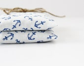 Lavender Mint Sachet Bags, Blue and White Anchor Decor, Housewarming Gift, Nautical Baby Shower Hostess Gift