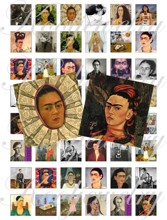 Frida Kahlo altered 1x1 inch images for pendant, scrapbooking and more craft, Digital Collage Sheets No.13