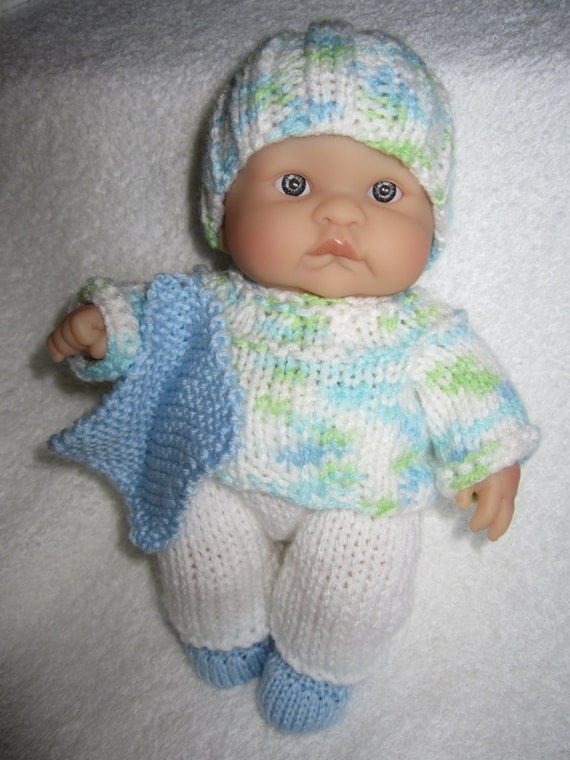 Knitting Pattern Boy Doll : Items similar to Knit Berenguer Baby Doll Boys Sweater ...