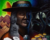 Yaqui Indian Medicine Man Don Juan Carlos Castaneda Psychedelic Portrait Art Print on Paper