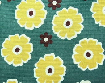 2443B - Half Yard - Retro POP Flower Fabric Yellow in Forest Green  - Japanese Cotton Designed and Printed by Matilda