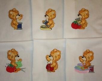 Sewing Teddies Machine Embroidered Quilt Blocks Set